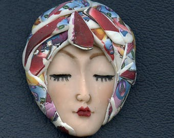NEW ! OOAK Polymer Clay One of a kind Detailed   Face with Layered Abstract Hat ACNH 3