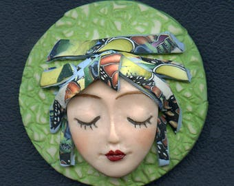 OOAK Polymer clay Detailed Caned hat face cab  Green, Abstract ANGOG 5