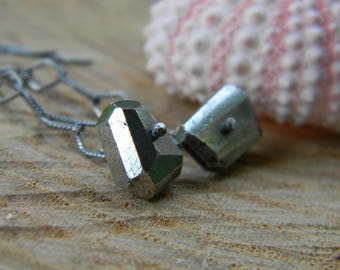 faceted pyrite nugget earrings - oxidized sterling silver - rustic, dangle earrings