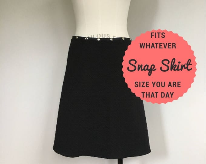 Black Snap Skirt adjustable wrap skirts knee length quilted warm work skirt handmade free shipping snap wrap erin macleod