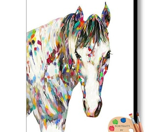 Modern Animal Art , Horse Painting, Modern Equine Decor on Canvas or as Canvas Prints