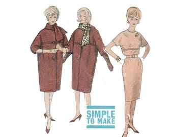 60s uncut Coat pattern and matching Kimono Dress pattern SALE vintage 34-26-36 Structured Coat pattern Long Coat pattern Simplicity 4072