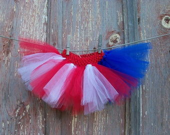 Size Newborn to 2T Baby or Small Dog Red White and Blue Tutu