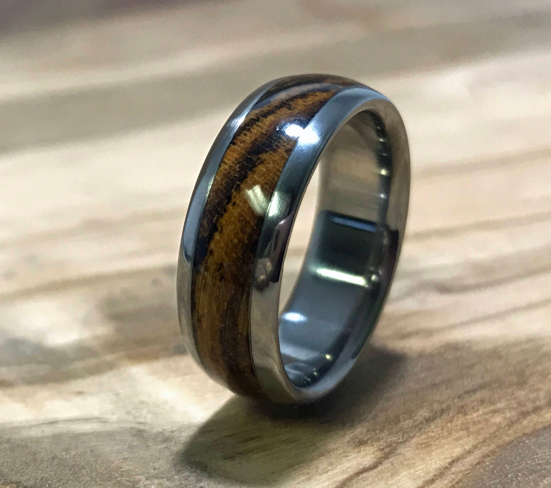 Titanium Ring Wedding Ring Wood Ring Bocote Ring Wood Inlay