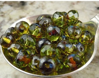 20% Summer SALE Czech Glass Beads 5x7mm Olive Picasso Faceted Rondelle - 25 (GG - 53)