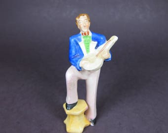 Vintage Made in Occupied Japan Figurine Lute Mandolin Player Musician Man