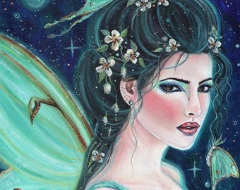 open edition aceo trading card Fairy luna moth 2.5x3.5 inches by renee