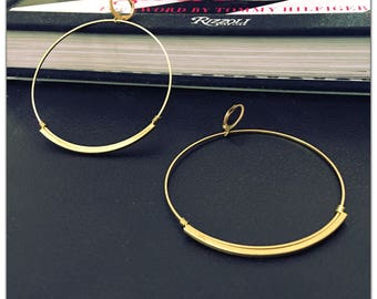 Lightweight Brass Circle Hoop Earrings - Statement Earrings - Oversized - Large Hoop Earrings - minimalist - E007