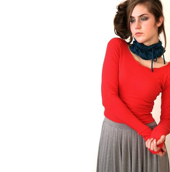 BANDED THUMBHOLE CROPTOP  women shirt, half top, long sleeve shirt, red shirt, red top, shirt with thumbholes, handmade shirt, cropped shirt