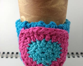 SALE - Aqua Crocheted Coffee Cozy with Pink and Aqua Circular Pocket (SWG-A11)