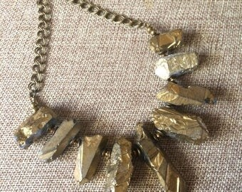 SUMMER SALE Gold Titanium Crystal Quartz  Bib Necklace - Bohemian Statement Jewelry