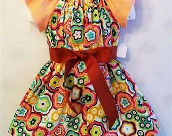 Girls Peach Flutter Sleeve Peasant  Dress, Baby Toddler  Big Girls Dress, Girls Clothing, handmade Dress, Made in the USA, #17