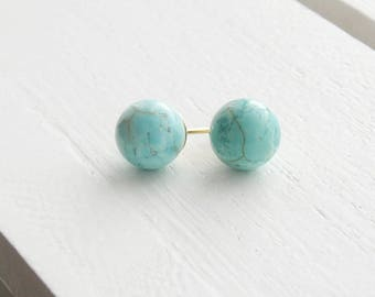 Turquoise stud earrings - gold filled - gold stud earrings - turquoise earrings