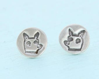 ON SALE CHIHUAHUA Stud Earrings illustrated by Gemma Correll -  sterling silver posts handmade by Chocolate and Steel