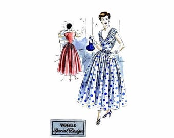 SALE Vintage 1940s Midriff Full Skirt Evening Dress Pattern Vogue S-4996 Special Design Vintage Sewing Pattern Size 14 Bust 32
