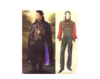 McCalls 4092 Mens Vampire Cape Cloak Vest Shirt Jabot Gothic Steampunk Costumes Sewing Pattern Chest 46 - 48 - 50 - 52 UNCUT