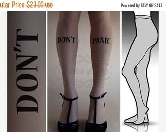 30%off/endsJUL23/ L/XL Grey Don't Panic tattoo tights / stockings/ full length / pantyhose / nylons