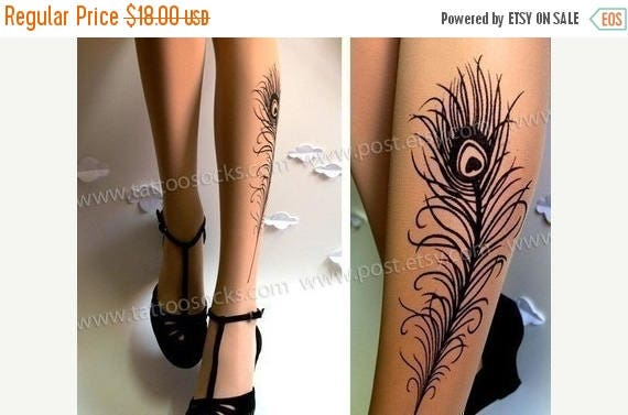 ON SALE/// PEACOCK Feather Tattoo gorgeous thigh-high stockings Light Mocha