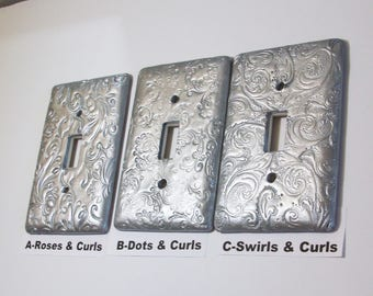 Metallic silver Swirls and curls light switch covers