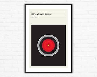 Stanley Kubrick, 2001: A Space Odyssey Hal 9000 Minimalist Movie Poster