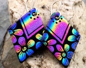 Rainbow Flower Hand Etched Dichroic Earrings Fused Glass & Sterling Silver Handmade Wires