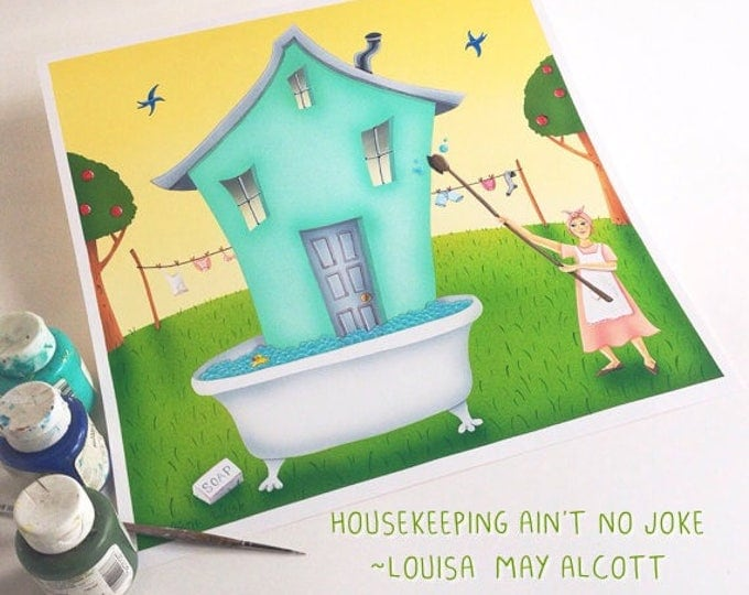 BATH HOUSE Framed Art Print | Laundry Room Painting | Laundry Wall Art | Bath Tub Print | Spring Cleaning Art | Valerie Walsh | 12x12