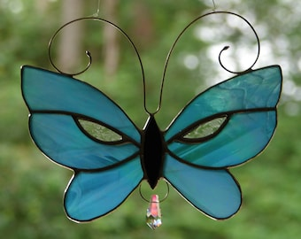 Stained Glass Aqua Blue Butterfly