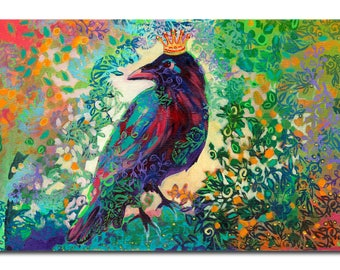 King for a Day - ORIGINAL Raven Abstract Painting, 18x33 by JENLO