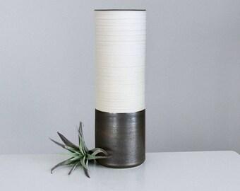 Ceramic Vase Metallic Bronze, Groove Cylinder Vase Rustic Bronze, Porcelain Cylinder Vase Tall
