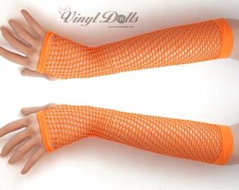 Orange Fingerless Fishnet Gloves