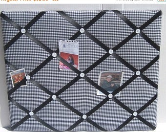 July 4th Sale Black White Gingham Memory Board French Memo Board, Fabric Ribbon Bulletin Board, Fabric Photo Board, Home Decor, New Baby Gif