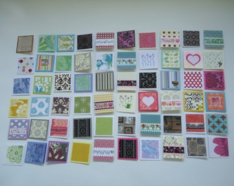 60 little mini notecards, lunch box love notes, mini shop notecards, tiny mixed lot notecards, 2 x 2 mini notecards, blank notecards, lot M2