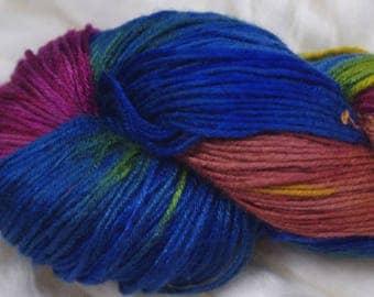 Hand painted Makimo Bamboo yarn, 4 oz, Rainbow Sherbet