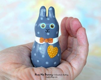 Handmade Bunny Rabbit Figurine, Miniature Sculpture, Blue, Gold, Red Hug Me Bunny, Animal Charm Figure with Flowers, Personalized Tag