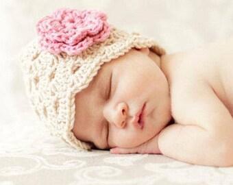 Baby Girl Beanie, Crochet Baby Hat, Newborn Beanie, Baby Newborn Hat, Baby Girl Hat, Ecru Pink, Newborn Baby Hat, Newborn Prop