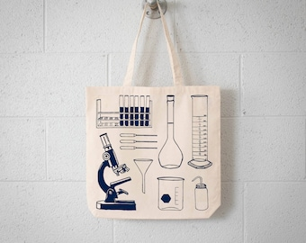 SCIENCE TOOLS Tote- screen printed canvas bag- Chemistry lab - Microscope, Test tube,  Ehrlenmeyer flask, pipettes, graduated cylinder
