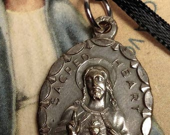 Flash Sale Art Deco Vintage Heavy Silver Plated Sacred Heart of Jesus Religious Medal Pendant