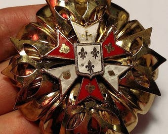 Flash Sale Renaissance Goth Gothic 1950s Huge Gold Red White Enamel Shield Crest Symbols Brooch Pin Knight Vampire Jewelry