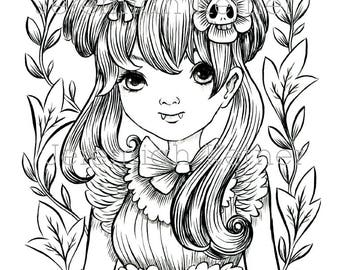 Vampire Girl - Coloring Page - Instant Download