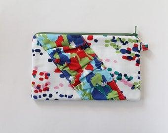 Small zipper pouch, cash envelope, Eyeglass case, Pen pencil, cash wallet, Cosmetic makeup bag, sunglasses, purse organizer, Watercolor Dots