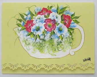Hand Painted Card - Pink and Blue Flowers in a Teapot - No. 1219