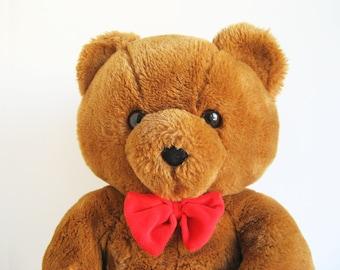 Vintage Dakin Teddy Bear stuffed animal Fun Farm Honey Jo 1980s Toys Red Bow Tie Classic Teddy Bear Retro Toy