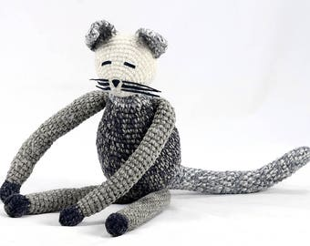 gilda - shades of gray and white one of a kind plush crocheted kitten softie stuffed animal