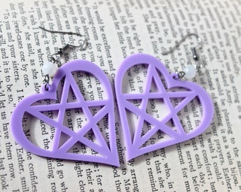 Purple Acrylic Heart Pentagram Earrings with White Moonstone Beads - Halloween Goth Witchy Psychobilly Pentacle