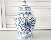 Vintage Blue and White Ginger Jar Chinoiserie Bombay Asian Style Chinese Porcelain Coastal Cottage Beach Home Decor Kitchen Canister
