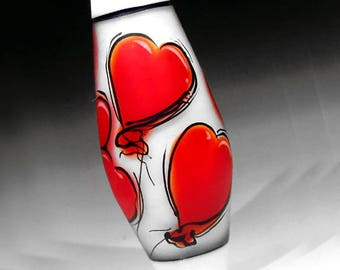 Red Heart Balloons Illustration in Glass, handmade lampwork glass bead focal by JC Herrell