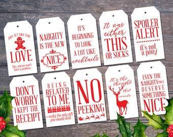 Naughty is the new Nice | Sarcastic Christmas Printable gift tags | red and white | modern minimal | Christmas Xmas Holiday tags Printable
