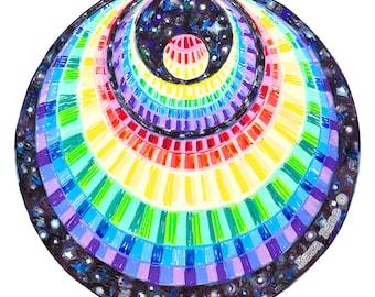 Cosmic Circle, Rainbow Angel (bigger), Window Cling, EcoFriendly, Crop Circle, Crescent Moon, Spiritual Star gift, Psychedelic Art, Rainbow