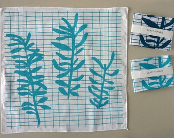 Sprig Grid leafy hankie screenprinted cotton handkerchief