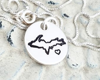 Upper peninsula necklace- UP necklace-Yooper necklace-Yooper gift-Yooper jewelry-Michigan necklace-Michigan jewelry